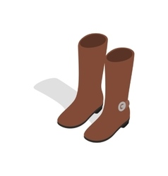 Female brown fashion boots icon isometric 3d style vector image