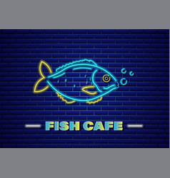 fish neon fresh glowing icon symbol templates vector image