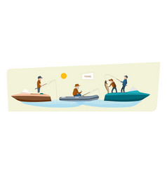 Fishermans fishing on boats in summer doing what vector