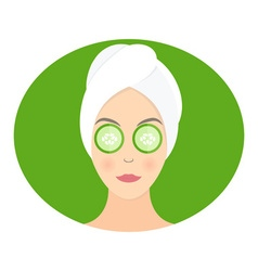 Flat design of a woman with mask of cucumber on vector image
