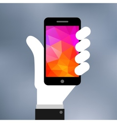 Flat of Smartphone on hand icon vector image