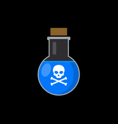 flat poison bottle icon toxin poison silhouette vector image