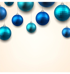 Gift card with blue christmas balls vector image