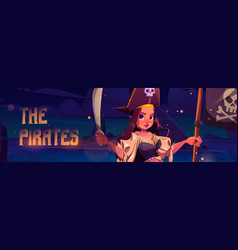 girl pirate with sword and black flag with skull vector image