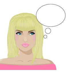girl the blonde thinks white bg vector image