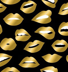 Gold girl mouth icons seamless pattern design vector image