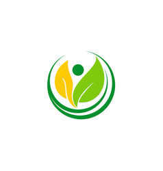 green leaf people vegetarian logo vector image