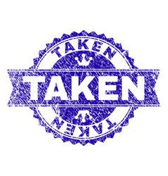 Grunge textured taken stamp seal with ribbon vector