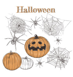 halloween set pumpkin sketch vector image