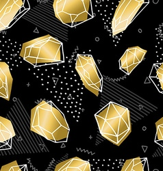 Hand drawn diamond rock seamless pattern in gold vector