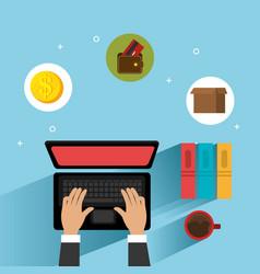Hands working in the laptop computer vector