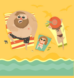 happy family at the seaside vector image