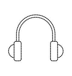 headphones music sound object icon vector image