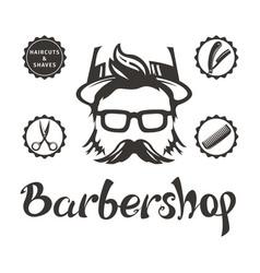 Hipster man barbershop logo vector