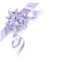 holographic foil gift bow isolated on white vector image