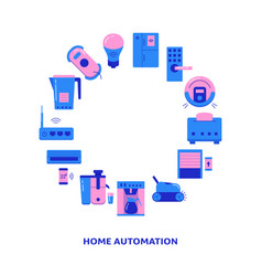 Home automation round frame banner with place for vector