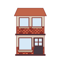house facade of two floor in colorful silhouette vector image