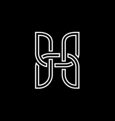 Initial letter h logo template with heraldic line vector