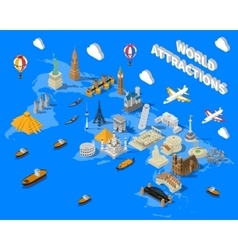 Isometric world famous landmarks map poster vector