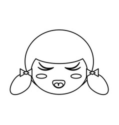 Kokeshi face doll outline vector