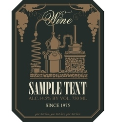 Label for wine with wine production vector