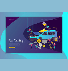 Landing page template car service having their vector