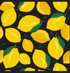 lemon fruits seamless pattern on black background vector image
