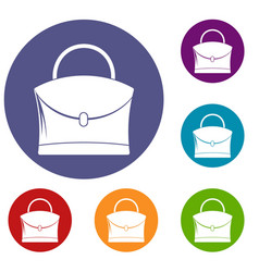 Little woman bag icons set vector