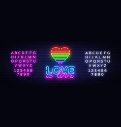 love is love neon text design template vector image