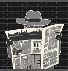 man in hat with newspaper spies vector image