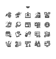 Marketing well-crafted pixel solid icons vector