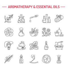 Modern line icons aromatherapy and vector