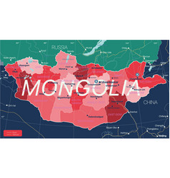 mongolia country detailed editable map vector image