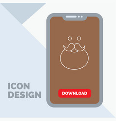 Moustache hipster movember santa beared line icon vector