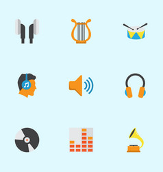 Music flat icons set collection of band dj male vector