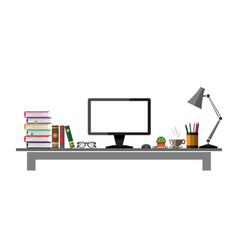 office table front view design vector image