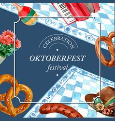 Oktoberfest frame with bakery bread pretzel music vector