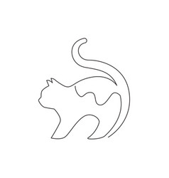 one continuous line drawing simple cute cat vector image