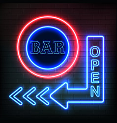 Open bar neon signboard realistic background vector