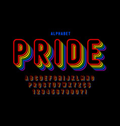 original display rainbow font design alphabet vector image