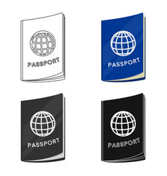 Passport icon in cartoon style isolated on white vector