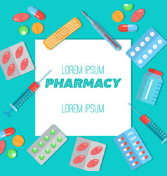 Pharmacy poster with flat icons vector