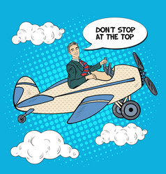Pop art business man riding airplane vector