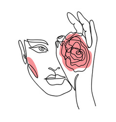 Portrait face with rose one continuous line art vector
