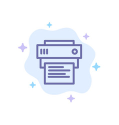 Printer print printing education blue icon on vector