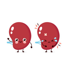 Sad unhealthy and happy strong human spleen organ vector