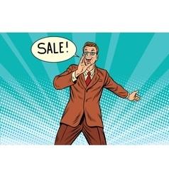 sale businessman promoter vector image