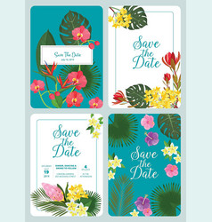 save day invitation decorative tropical flowers vector image