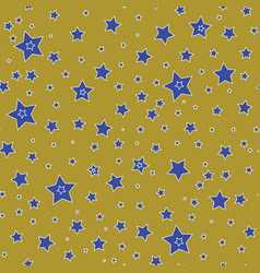 Seamless pattern with blue stars on a olive gold vector