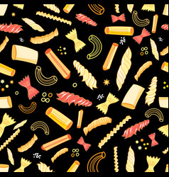 seamless pattern with different tasty pasta vector image